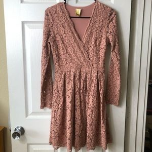 Blush pink long sleeve lace H&M dress